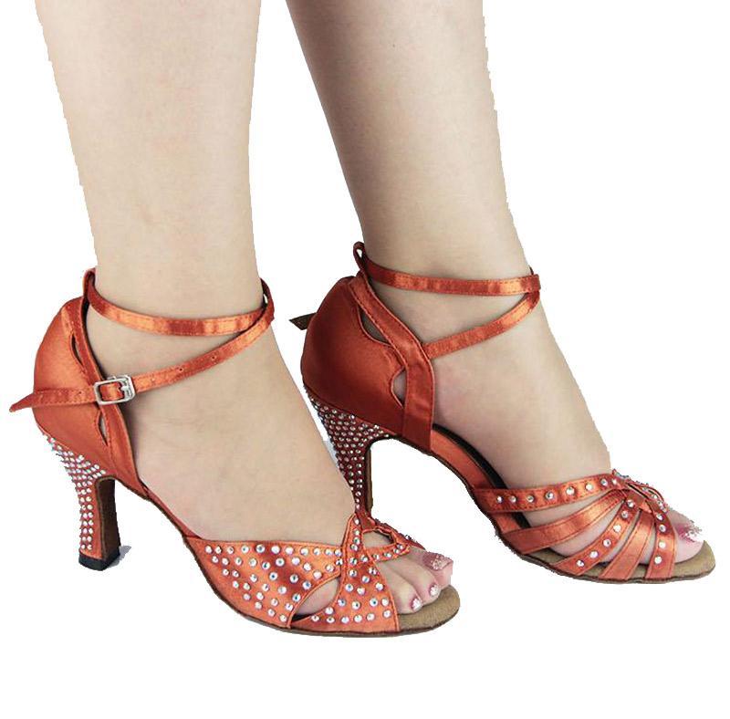 XSG Free shipping Latin dance sandals shoes female dancers with diamond latin ballroom dancing women wear stage ballroom shoes high-heeled