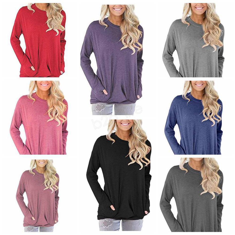 المرأة طويلة الأكمام قمصان قمم عارضة مع جيب تي شيرت مثير تيز الأزياء الصلبة س الرقبة البلوزات blusas ملابس تي LJJA2856