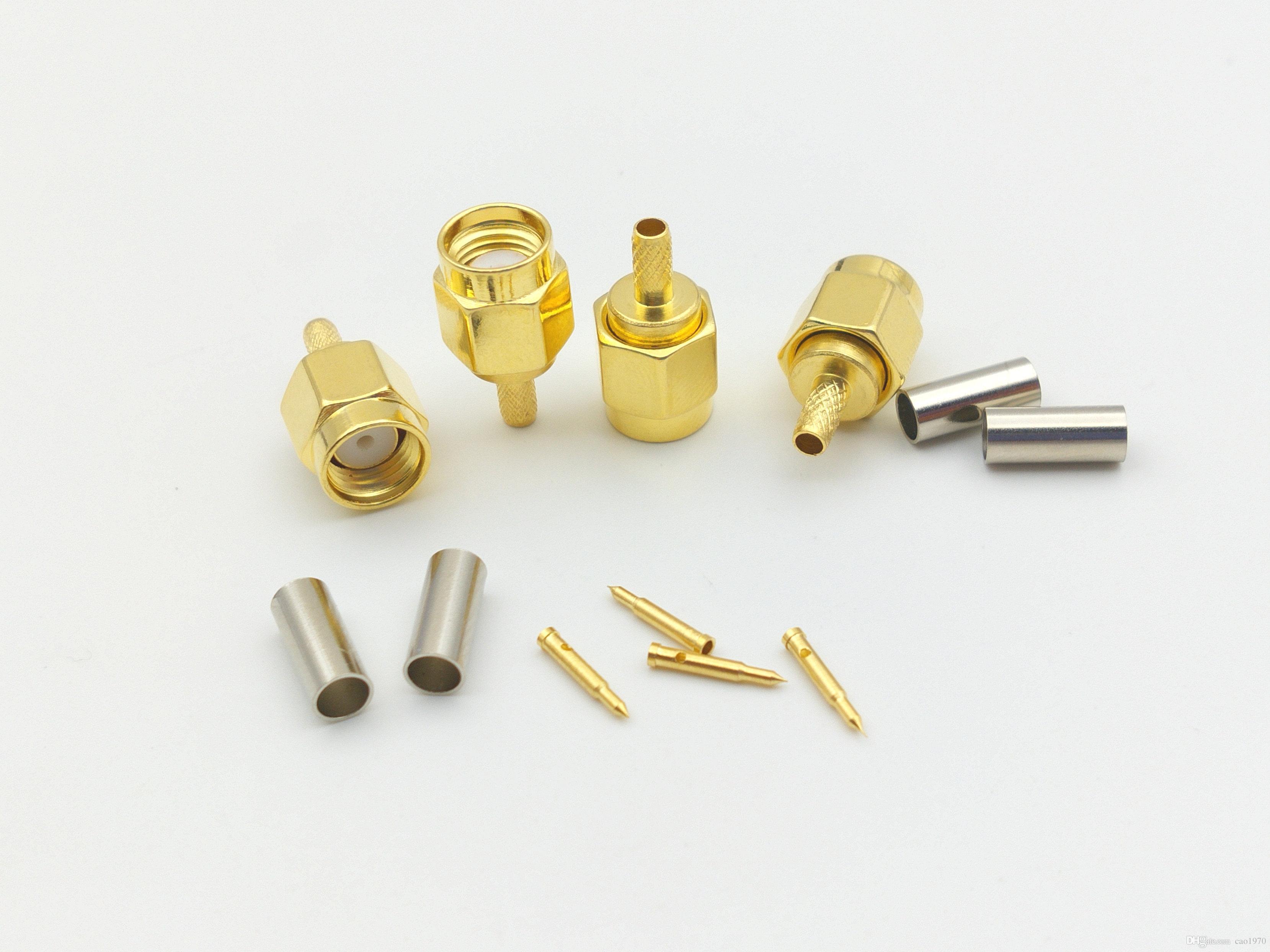 100pcs مطلية بالذهب SMA الذكور تجعيد ل RG174 RG179 RG316 RG188 محول