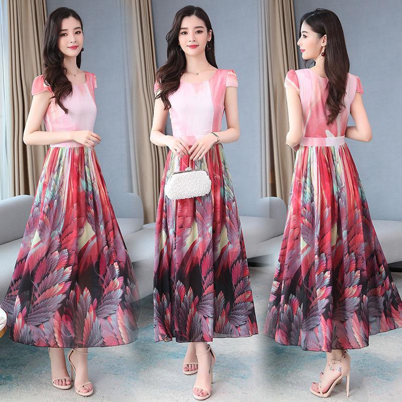 Vestidos 2020 del verano del nuevo temperamento larga impresa vestido de las mujeres de color claro era la cintura delgada vestido largo de las mujeres JK106