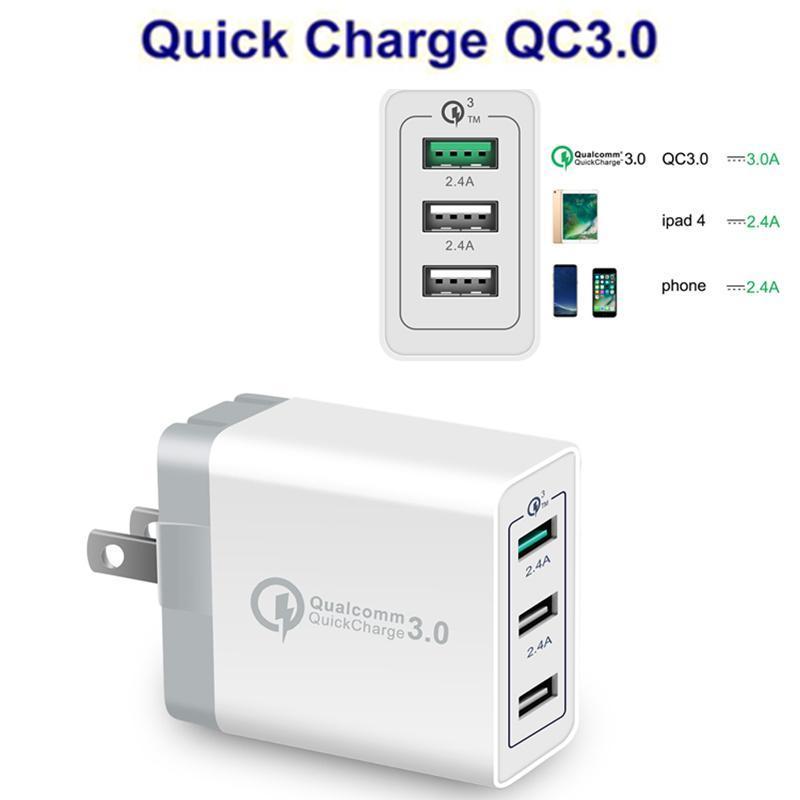 Breve carica della parete di controllo di qualità 3.0 Fast Charger 3 porte USB adattatore caricatore della parete dell'OEM UE / USA / UK Plug per Smartphone Android e iOS Samsung S8