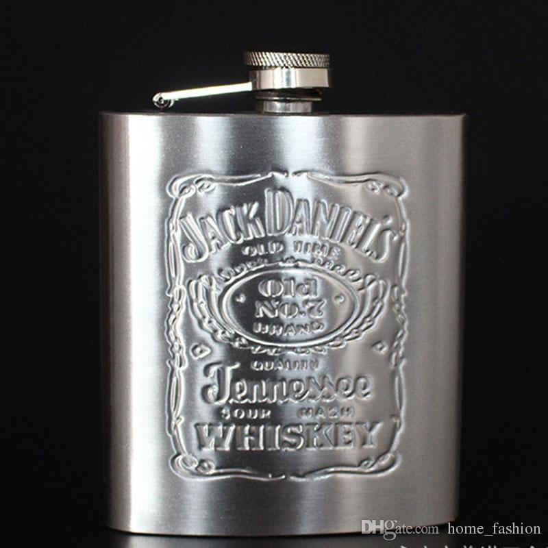 Portable 7OZ Flasque Whisky Vin Bouteille Acier Inoxydable Alcool Hip Flask