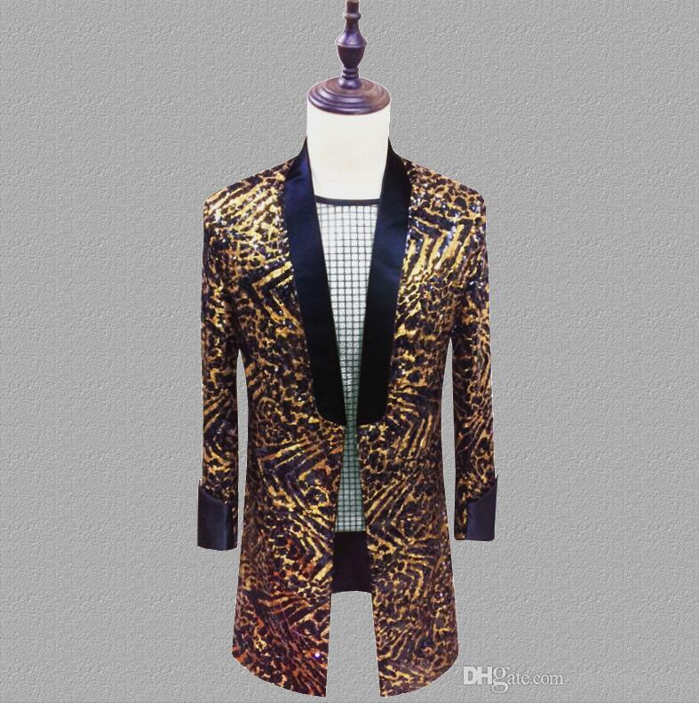Leopard sequins blazer men long suits designs jacket mens stage singers clothes dance star style dress punk rock masculino homme terno