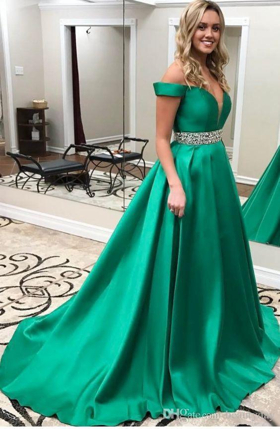Темно-зеленые платья выпускного вечера 2019 Вечернее платье для торжественных вечеринок Платье для особых случаев Дубай 2k19 бисерный пояс