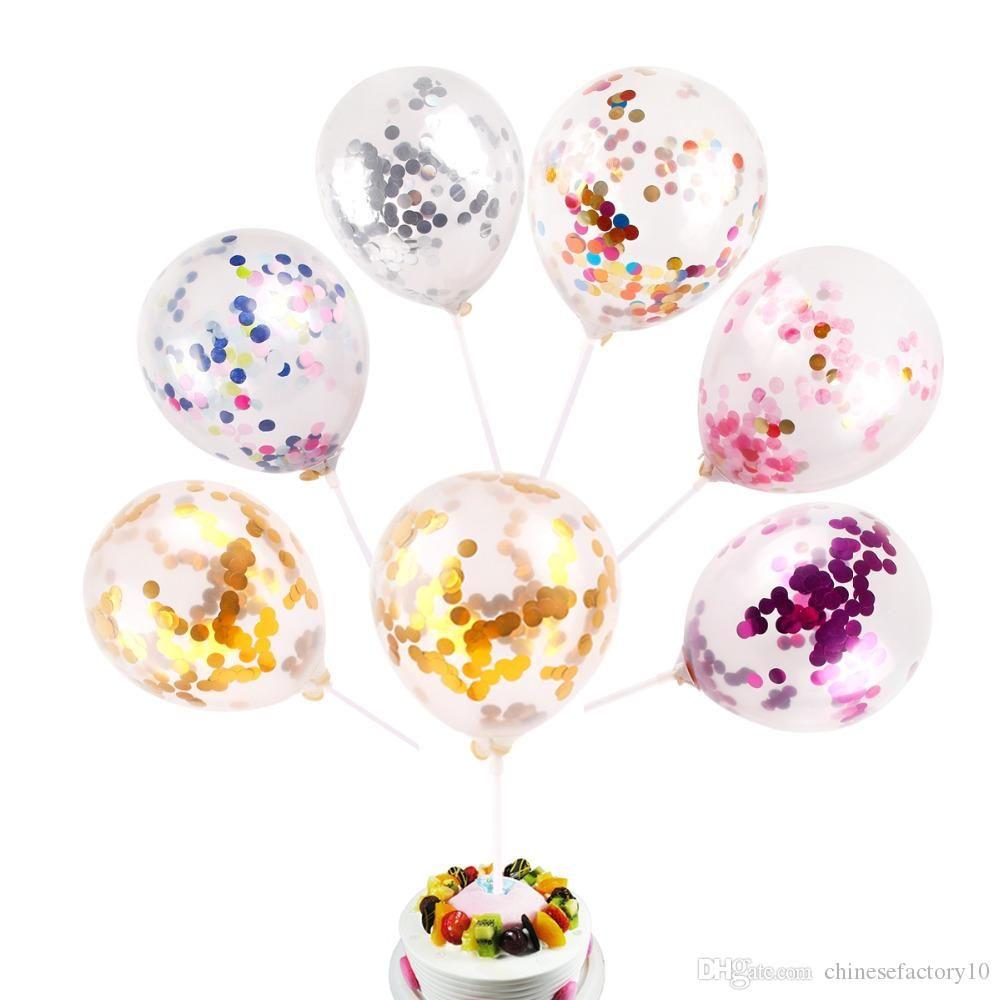اللوازم متعدد الألوان مطاط الترتر بالونات عيد ميلاد عرس حزب زينة تملئ واضح الجدة لعب اطفال جميلة 5 بوصة