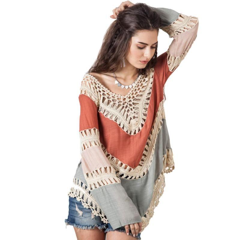 Automne Femmes Boho V-cou Crochet Chemisier Hauts Manches longues Kimono Tunique en tricot