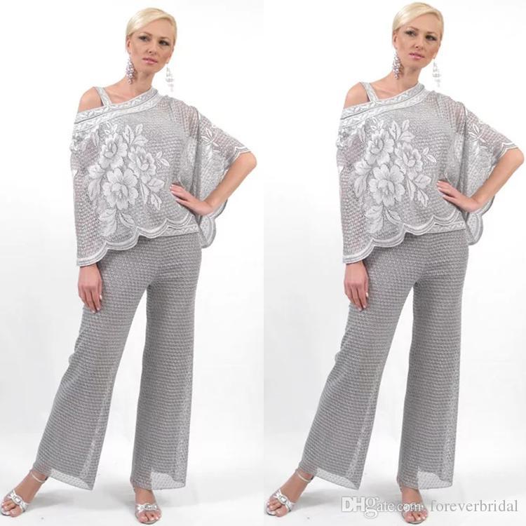 New Designer One Shoulder Mother of Bride Dresses Sequins Shiny Pants Suits 2 Pieces Floral Pattern Women Clothes