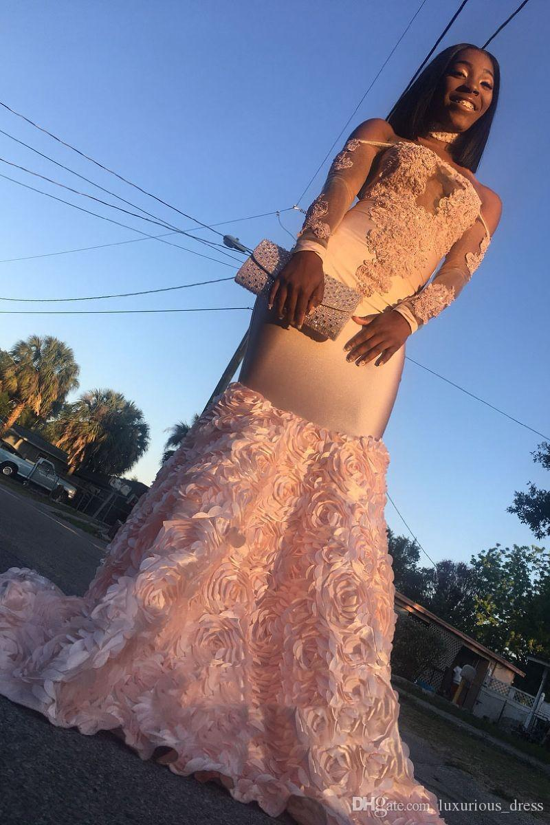 African Pink Prom Dresses Mermaid Off-the-shoulder Appliques Evening Dress Long Sweep Train arabic dresses dubai Party Gowns Pageant Dresses
