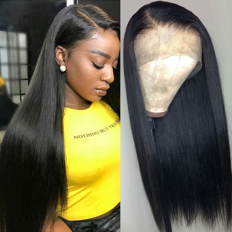 360 de dentelle perruques de cheveux humains Pré plumé longue noire droite Vierge Perucian cheveux Glueless 360 Lace Frontal perruque avec bébé Hairs