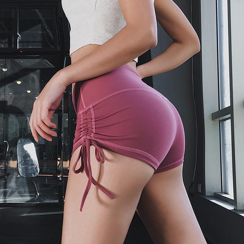 Новый хип тренировки высокой талией шорты Йога Sexy Drawstring Фитнес Спортивные шорты Влагоотведение Gym Бег для похудения Motion