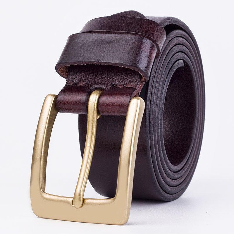 Mode Hommes Ceintures Haut cuir Ceintures en cuir de vache en cuir véritable concepteur ceinture boucle cuivre aiguille luxe ceinture noire / couleur coffe bracelet mâle