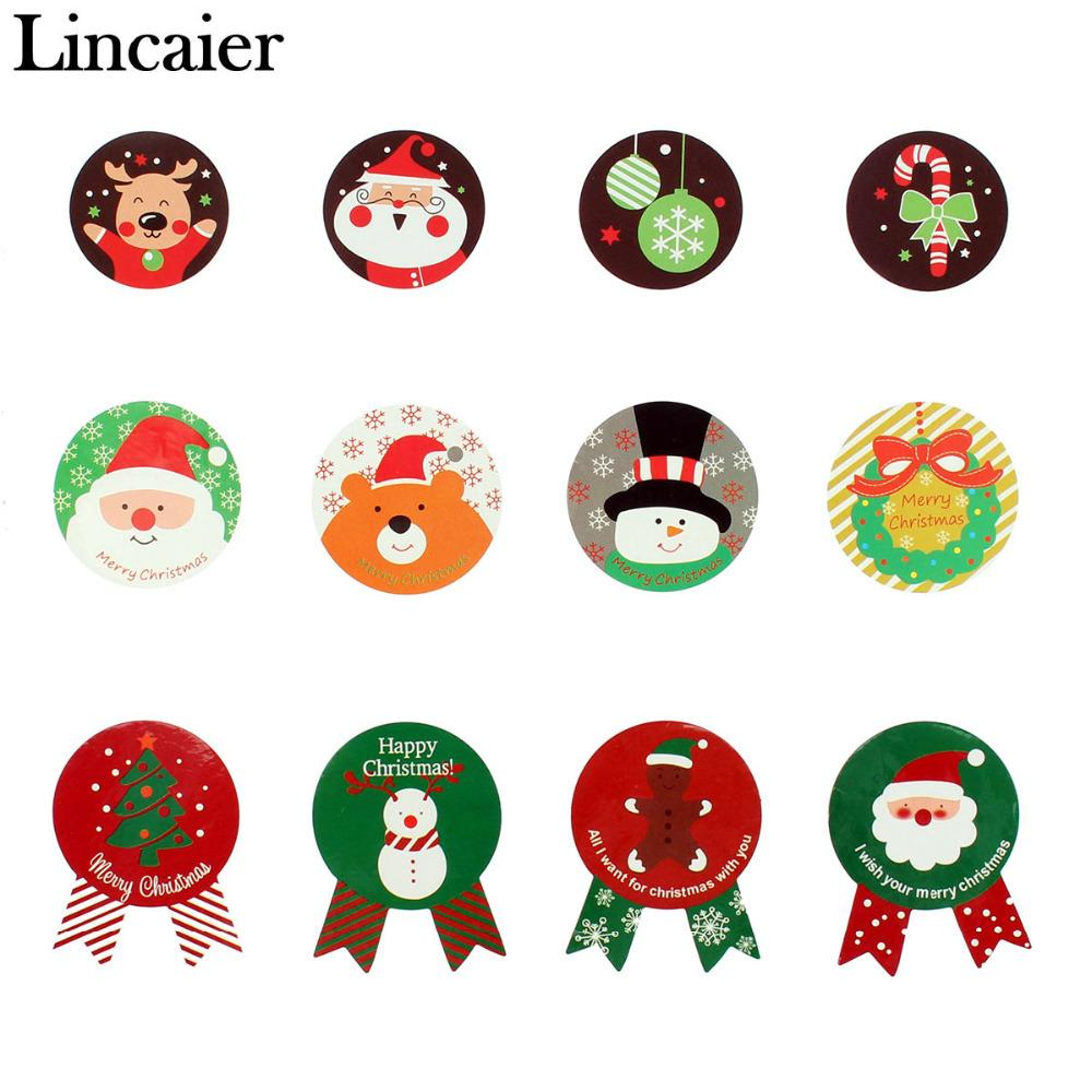 Lincaier 80 Pieces 2018 Christmas Paper Label Stickers Gifts Bags Wrapping Candy Tag Party Decorations New Year C18112701