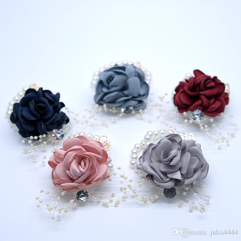 Real Image Cheap Bride Bridesmaid Wrist Flowers Cheap Wedding Supplies Ribbon Flower for Wedding Accessories Fast Shipping