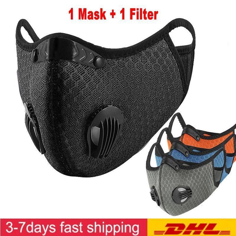 DHL envía diseñador de la máscara facial de ciclo de carbón activado con el filtro de PM 2,5 anticontaminación de Deporte de la máscara de Formación del camino de MTB Protección de bicicletas