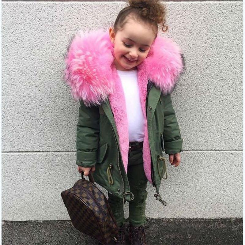 Soğuk Rus Kızlar Mont ve Ceketler Çocuklar Faux Kürk Yaka Çıkarılabilir Kalınlaşmak Coat Erkek Bebek Çocuk Kış Dış Giyim Kızlar Için