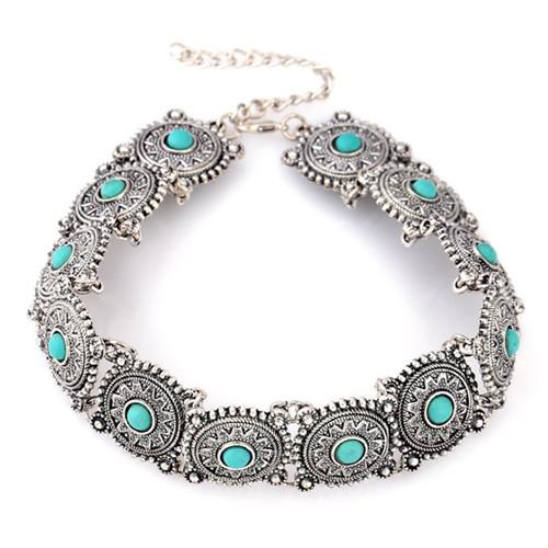 Wholesale 10 pcs Silver Plated Stackable Round Green Turquoise Stone Pendant Choker Necklace for Party Gift Jewelry