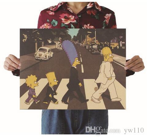 Les Simpsons Cross Street Vintage Papier Kraft Film Affiche Carte Home Decor Art Rétro Posters et Estampes Decorativos