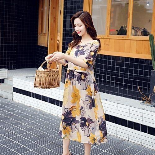 uOcOk Yeni çiçek kısa kollu uzun etek, uzun wo moda yaz yüksek bel çiçek Orta uzunlukta elbise dar kesim yuvarlak boyun zarif etek