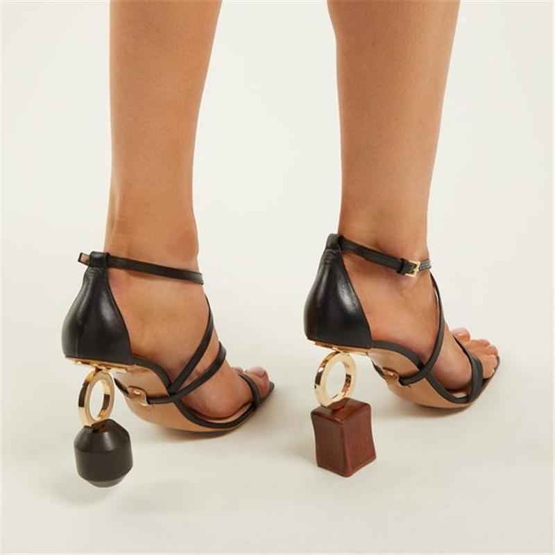 Hot Sale-été femme Sandales étrange Talons Femme robe de bal Chaussures Femme Pompes Spartiates Valentine Chaussures