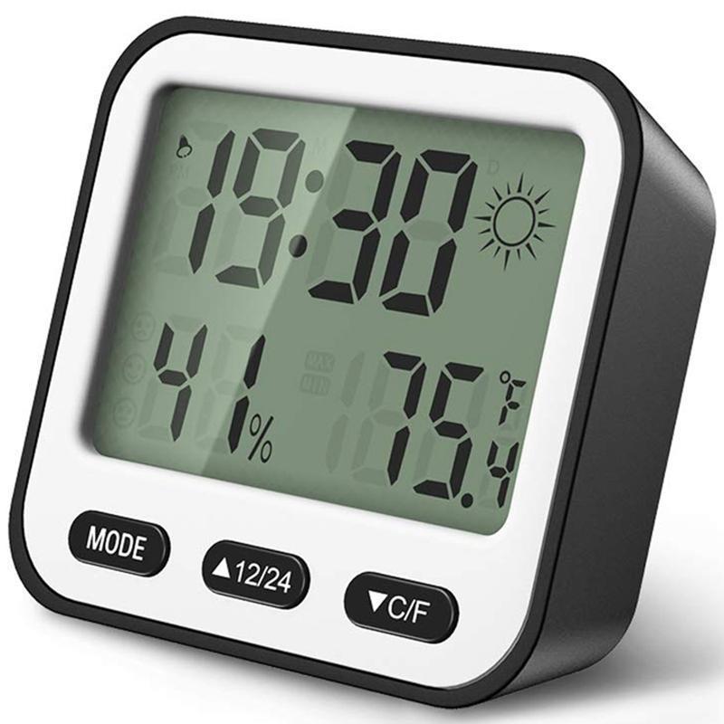 Mode Kleiner Wecker für Schlafzimmer Digitaluhr LCD-Schreibtisch-Kind-Alarm Batteriebetriebene Wetter Temperatur