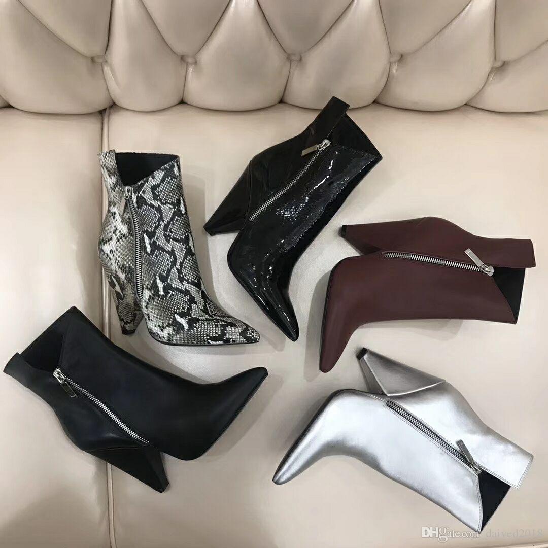 Calzado clásico estilo europeo romanos, ladies'shoes, Martin botas, botas de cremallera de la motocicleta, cargadores atractivos carta decoración de goma inferior laweier