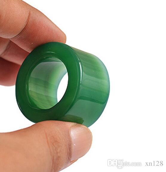 Прямые продажи естественный зеленый агат палец драгоценных камней палец внутренний диаметр 2 см ширина 2 см Палец
