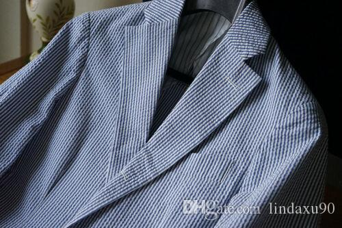 Blue Striped Seersucker Men/'s Summer Soft Suits Leisure Beach Formal Tuxedos