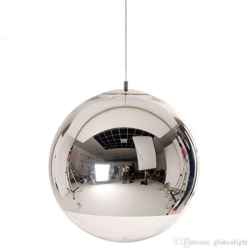 Modern Glass Ball Pendant LED Light Spherical Transparent Pendant Lamp Single Hole Plated Hanglamp Bedrooms Parlor Hanging Lamp