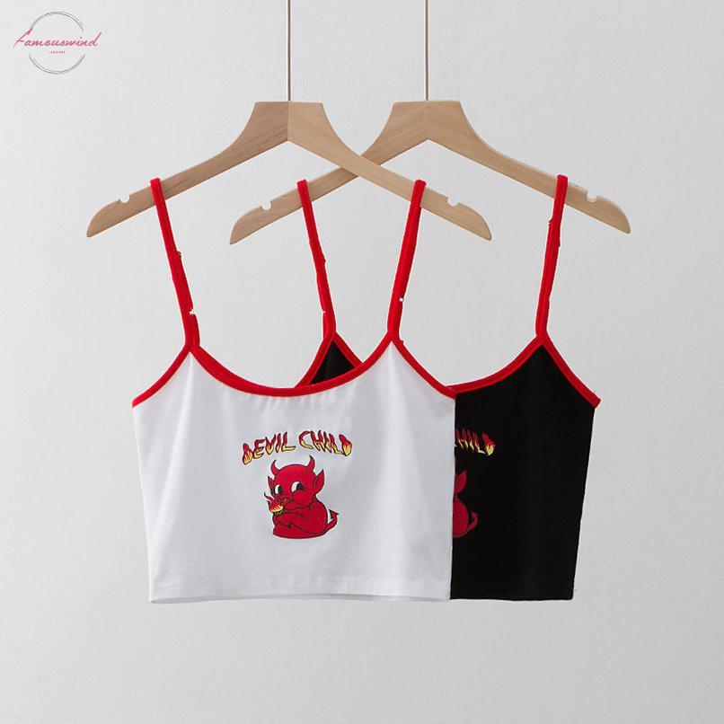 Белый Черный Crop Top Женщины мультфильм Devil Ребенок печати Хлопок Camis Streetwear Короткие топы Tee High Street Summer Chic Fashion