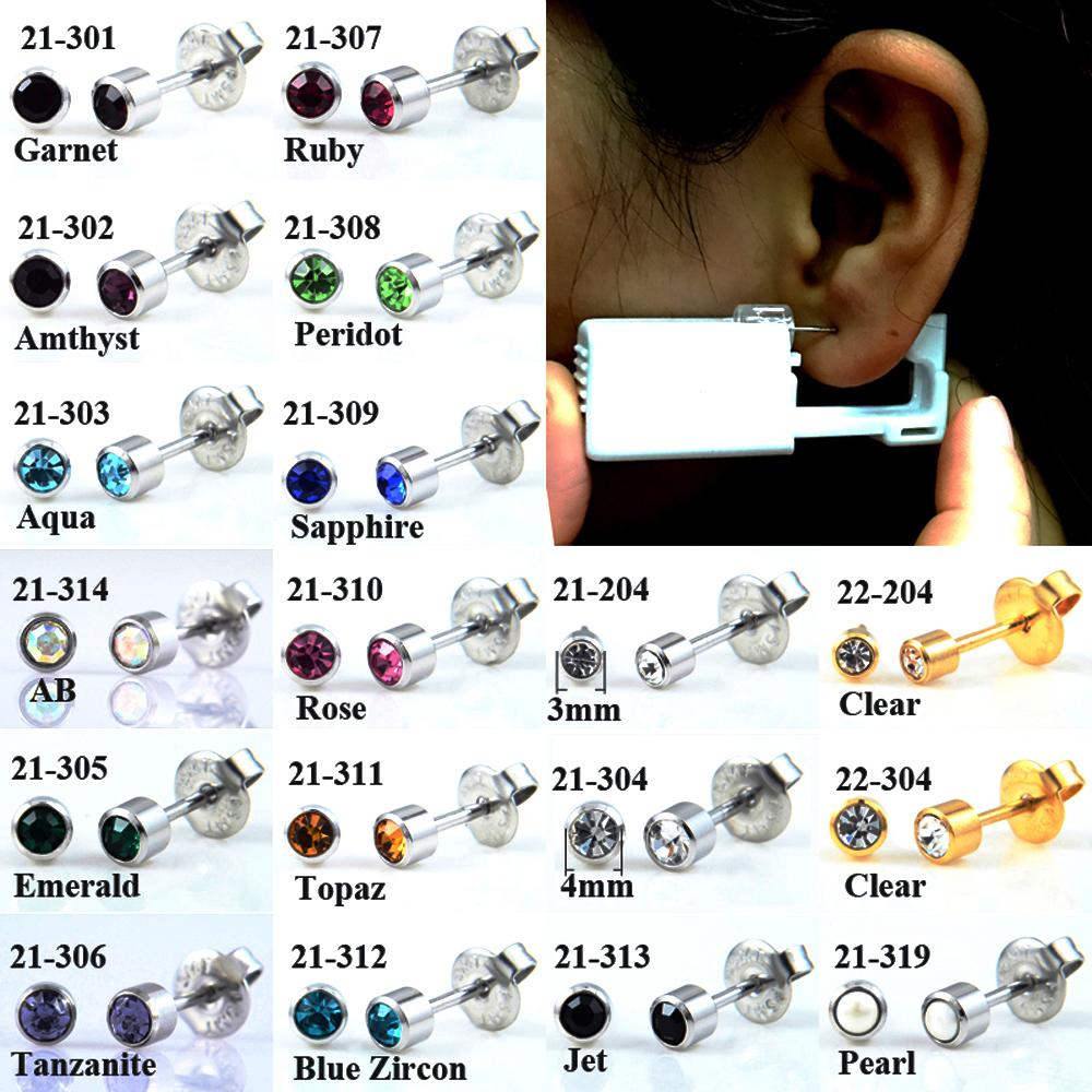 2Pcs Disposable No Pain Safe Sterile Ear Stud Piercing Unit Gun Kit Nose Stud Piercing Tool Easy Ear Piercer with CZ Gem 20g