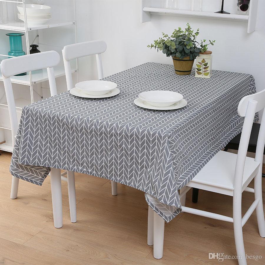Haushaltswasserdichte Leinen Rechteck Tischdecke Plaid Print Multifunktionales Tischdecke Home Küchendekoration Tischdecke DH1400 T03