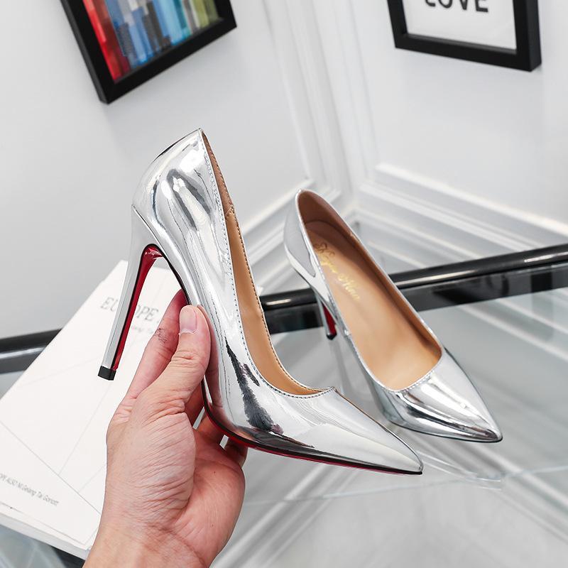 YEELOCA Primavera punta scarpe col tacco alto pompe della bocca poco profonda stiletto singolo scarpe da sposa del professionista rosso donne inferiori