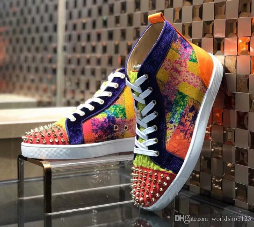 Mutil ani Merhaba Üst Çivili Dikenler Casual Flats Kırmızı Alt Lüks Ayakkabı Yeni için Erkekler ve Kadınlar Partisi Tasarımcı Sneakers Aşıklar Gerçek Deri