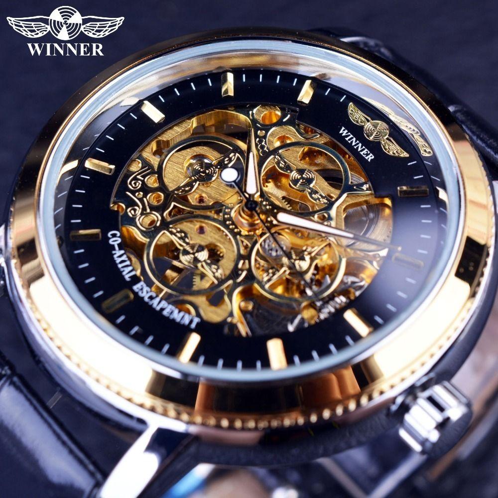 Ganador Diseñador de 4 anillos Caso transparente Volver Negro Esqueleto dorado Relojes para hombre Reloj de pulsera mecánico de primeras marcas de lujo J190706
