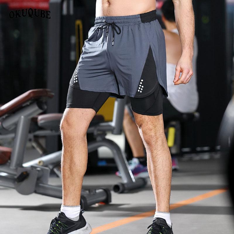 1 Çift katlı Egzersiz Kısa Pantolon Nefes Gri Yeşil Koşu Spor Eğitimi Spor Spor Şortlar M-3XL içinde Shorts 2 Koşu Erkekler