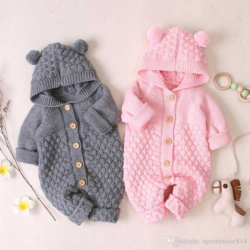 Baby knit Rompers Cartoon Bear Knitted autumn Newborn Boys Jumpsuits Clothes winter Long Sleeve Toddler Sweater Children Overall