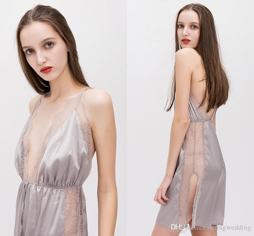 Neue Frauen Sexy Pyjamas Kleid Spitzenbesatz Satin Chemise Mantel Nachtwäsche Langarm Pyjamas der Frauen Onesies Honeymoon Kleid CPA1470