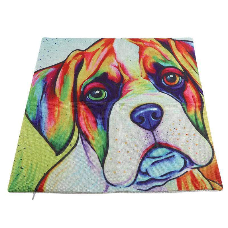 45x45Cm Cartoon Cute Cushion Cover Dog Pattern Linen Cotton Home Sofa Car Seat Decorative Pillowcase Pillow Case