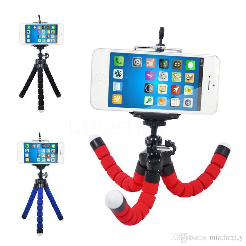 Universale Stretch telefono cellulare di supporto regolabile Treppiede Octopus Stand con la clip adattatore di montaggio di 360 rotazioni per Tablet fotocamera iPhone Smartphone