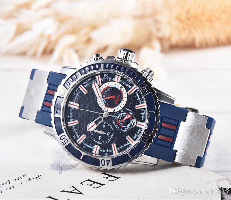 Новый прибыл люкс ООН Мужчины Часы Montre Homme Diver Chronograph кварцевые часы Мужчины Все Subdials Работа Спорт Человек наручные Релох Hombre