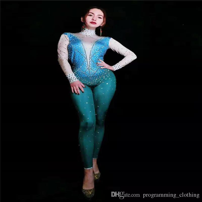 Y50 Femme pole dance robe strass body bleu dj porte des tenues de soirée chanteur diamants combinaison costumes de scène ballroom bar vêtements dj