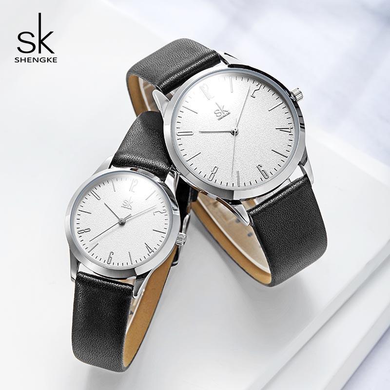 Pelle Shengke modo delle donne degli uomini coppia Orologi Set di lusso del quarzo degli amanti Donna Uomo orologio da polso 2019 Reloj Mujer Hombre # K9003