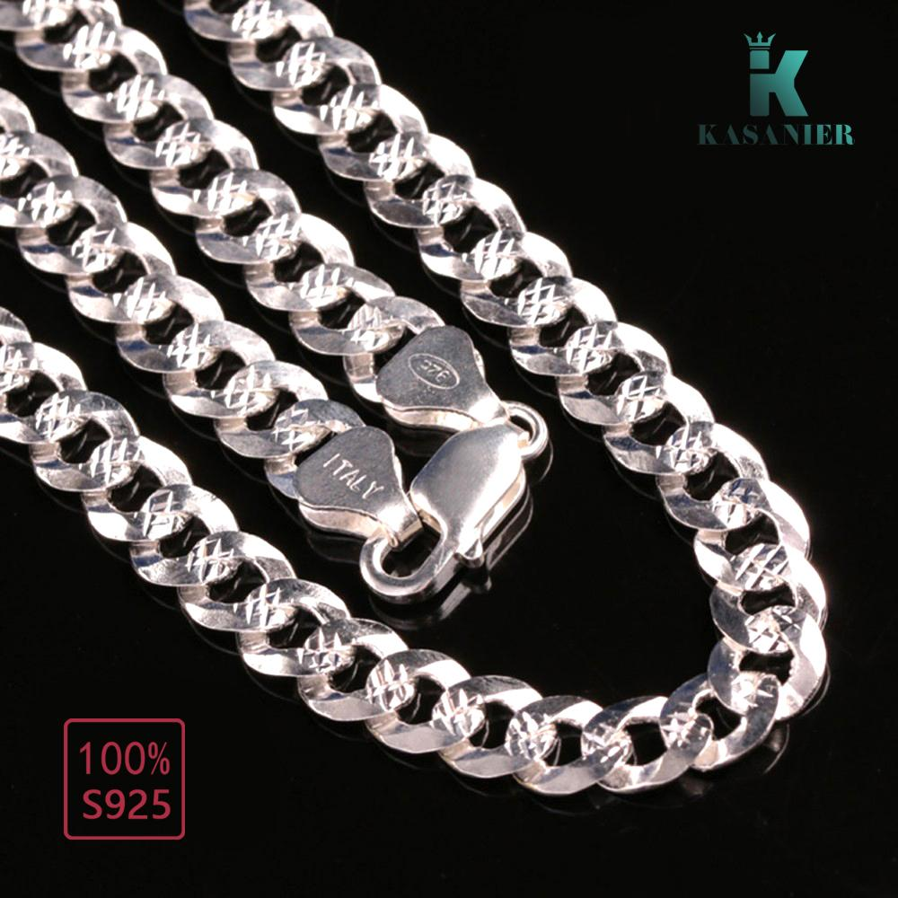 Customize 100% Real 925 Sterling Silver chain necklace Color silver Figaro chain necklace men jewelry free shipping KASANIER