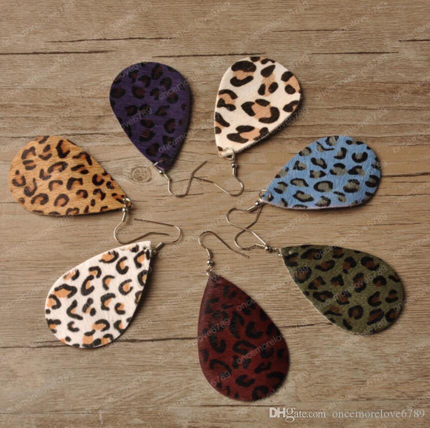 Boucles d'oreilles en cuir Leopard Fashion boucles d'oreilles en cuir véritable forme de goutte d'eau en cuir faits à la main pour les femmes cadeau de mariage en gros