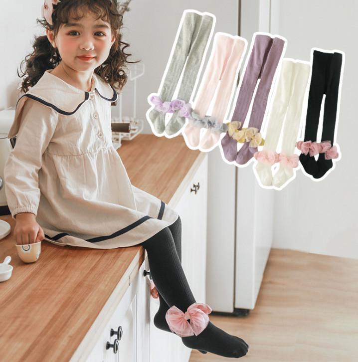 Girls lace bows knitting tight spring new kids stretch cotton stripe leggings kids dance stocking children princess leg A1831