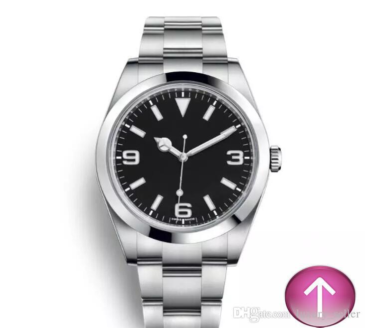 العلامة التجارية الجديدة RX إكسبلورر الأسود الهاتفي الفولاذ المقاوم للصدأ التلقائية عارضة تاريخ reloj دي لوجو montre Relojes دي رجل الساعات الفاخرة.