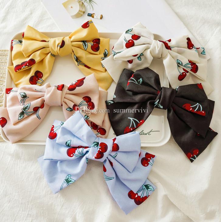 NEW Beautiful Ribbon Bow /& Cherries Hair Clip UK Seller