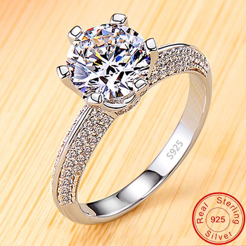 مع شهادة الكلاسيكية الزركونيا الماس خواتم الخطبة الزفاف للنساء 100٪ 925 الصلبة الفضة خاتم جديد المجوهرات الجميلة YR279