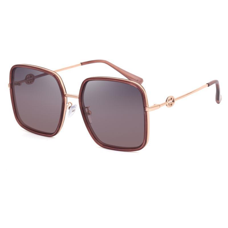 10 colores para elegir la marca del diseñador Hombres Mujeres gafas de sol polarizadas marco semi sin rebordes Gafas de sol de oro de alta calidad de los vidrios de Sun del marco de cristal