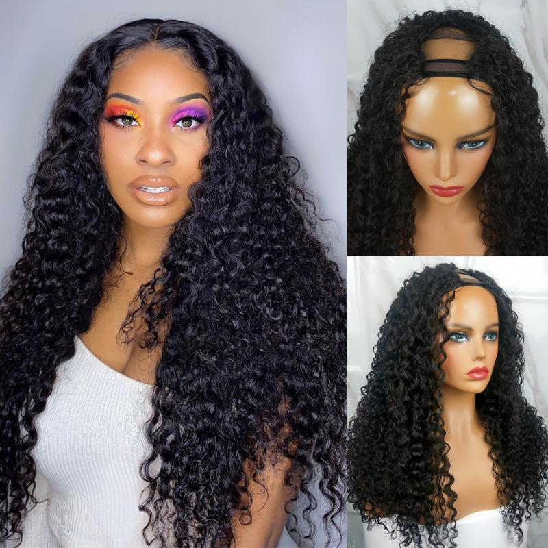U часть парик человеческих волос бразильские парики волос для чернокожих женщин глубокий вьющийся парик 12-30 дюймов Западный поцелуй Реми